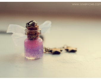 Custom colour, White Lace Bottle Necklace. Cute Necklace, glitter Glass Vial necklace miniature bottle Pendant, Inspirational gift for her