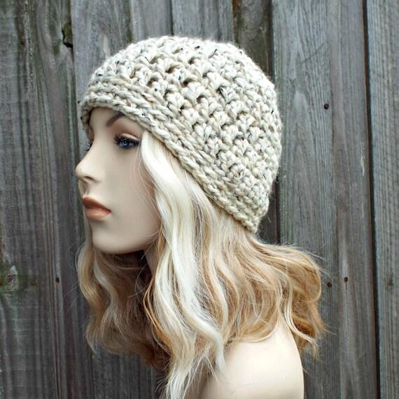 Oatmeal Beanie - Crochet Womens Hat Mens Hat - Warm Winter Hat - READY TO SHIP
