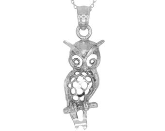 925 Sterling Silver Owl Necklace with Silver Chain; Gold Animal Jewelry for Casual Wear, Wildlife Jewelry Gift