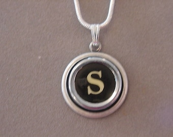 Typewriter key necklace Jewelry Typewriter key Initial necklace Initial S Steampunk recycled jewelry
