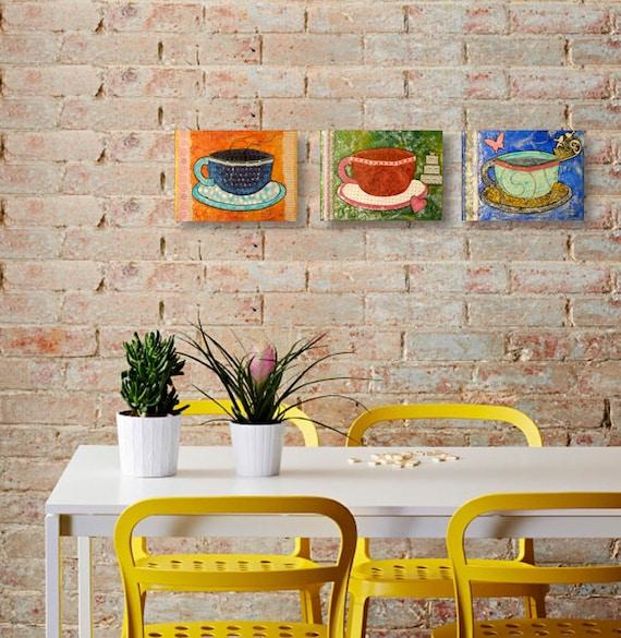 Tazas de caf conjunto de 3 cuadros decorativos para cocina - Cuadros decorativos para cocina ...