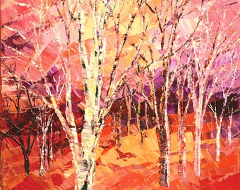 Original landscape painting palette knife forest art spring birch aspen trees woodland - by Tatiana Iliina - free shipping