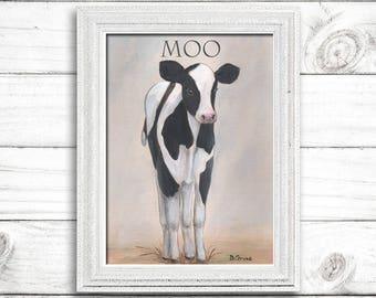 Farm Nursery Print, Nursery Art, Nursery Wall Decor, Cow Baby Calf Nursery Print, Gray Vintage Wall Decor, 6 Sizes, Large Nursery Wall Art
