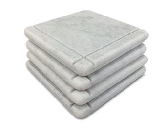 Arts & Crafts Style Marble Coasters – White Carrara Marble Stone Coasters with Cork Backing Set of 4, Design C
