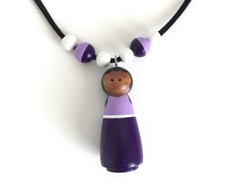 "Peg Doll Necklace - ""Jackie"" - Wooden Bead Necklace - Girls Necklace"