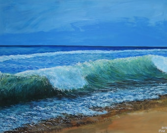 Acrylic painting 'The moment', sea, beach
