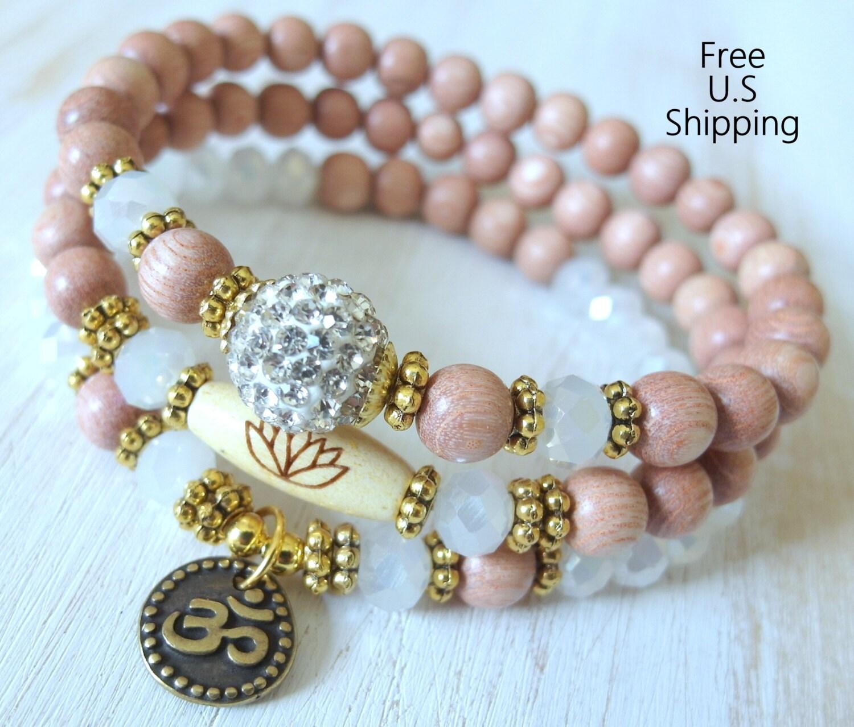 Yoga Beads: Set Of 3 Yoga Bracelets Choose Word Om Rosewood Beads