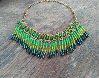 Colorful Beaded Bibbed Style Necklace, Beaded Tribal/Ethnic Necklace, Inv.#,181