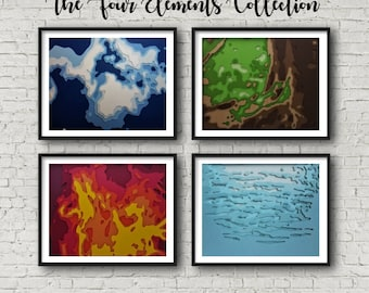 The Four Elements Complete Collection - FOUR 8x10 Layered Paper Art Pieces