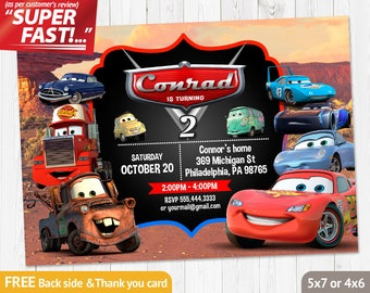 Cars Thank You Card Printable Birthday Lightning Mcqueen Invitations Free