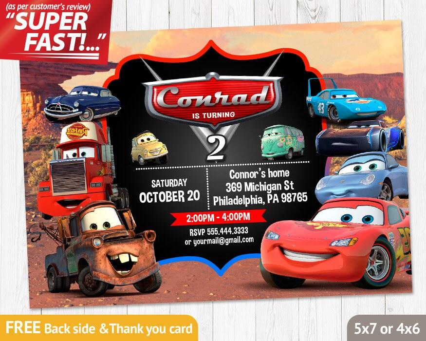 Cars Birthday Invitation PRINTABLE Cars Invitation Cars