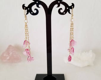 Valentine Pink Wild Hearts On Gold Filled Ear Wires And Gold Filled Chains