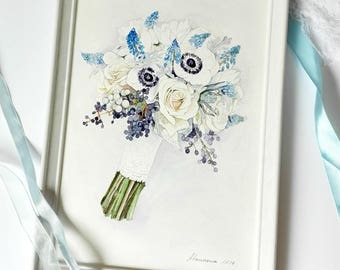 Custom Wedding Bouquet Painting ORIGINAL Watercolor Bouquet Custom Briddal Bouquet Anniversary Gift Painting from photo Gift For Mom