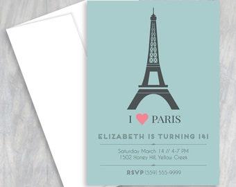 Paris Birthday, Invitation, Eiffel Tower, Paris Invitation, French Birthday, Paris Party, Paris Theme, Parisian Party, Birthday Party