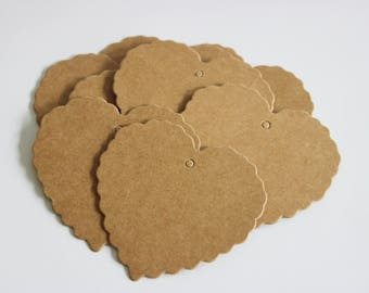 Plain Brown Heart Kraft Tags 25, 50 or 100 Weddings / Gift Tags / Thank You / Swing Tags / Price Tags / Scalloped