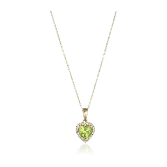10k yellow gold peridot heart diamond pendant necklace mozeypictures Gallery