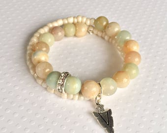 Neutral colored beaded double wrap bracelet with arrowhead charm, Earth tones, Memory wire wrap bracelet, Stack bracelet, Gift for Her