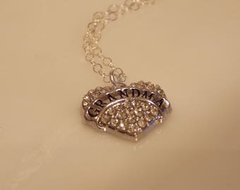 Heart Sterling Silver Necklace - Rhinestone Pendants - Friendship Necklaces  - Anniversary Gift - Gift idea - Holiday gift - Mother Gift