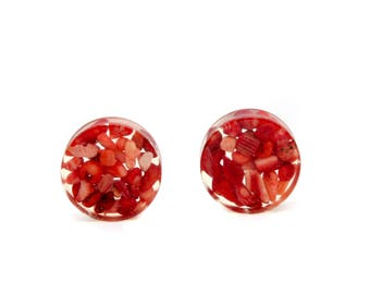 "Red Coral Plugs - Sizes 3/4"" inch and 1"" inch Gauges Only - Handmade Resin Body Jewelry"