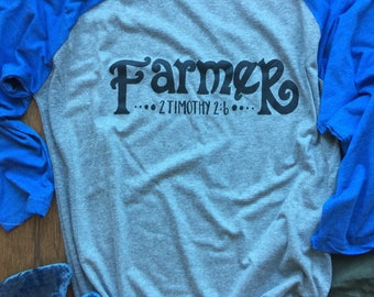 Christian T-Shirt|Farmer|Raglan|Farmer t shirt|Fun Women's Tshirt| T Shirts|Ladies T Shirt|Fun T Shirts|Cute Shirts|Unique Shirts
