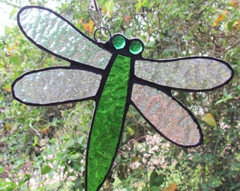 Stained Glass Dragonfly Suncatcher, Glass Dragonfly,Dragonfly Suncatcher,Green Dragonfly,