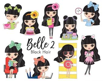 Black Hair Girl Clip Art Black Hair Girl Planner  Girl Activity Digital Planner Sticker Cute Girl Clipart Black Hair Woman Planner Clipart