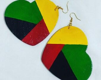 Rasta color heart shaped dangle earrings