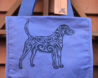 Dog Tribal Tattoo Messenger Field Bag -  Screen Printed Original Design