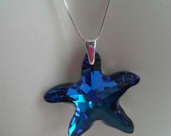 Handmade using Swarovski  Bermuda Blue Starfish Pendant with Sterling Bail( without chain)