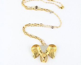 Elephante - Vintage Gold Tone and Silver Elephant Brooch Necklace LONG
