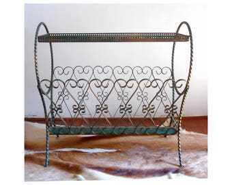 Vintage metal magazine rack, French vintage wrought iron magazine rack, magazine holder from the 1960s