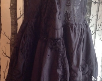 Black lace embroidered layering plus-size dress lagenlook vintage fabrics