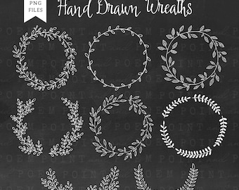 Wreath Clip Art : ''Hand drawn wreath'' chalkboard laurel clipart, wedding rustic,floral elements, leaves - Commercial Use