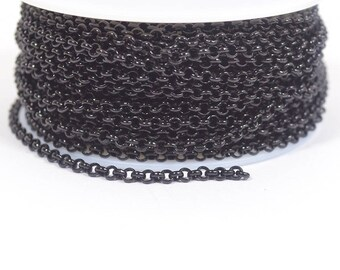 3.0mm Rolo Chain -Shiny  Midnight Black - CH49 - Choose Your Length