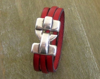 Man, red, silver plated hook clasp leather bracelet. Gift for coworker