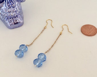 Blue Glass Bead and Gold Chain Drop Earrings
