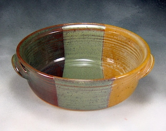 Pottery Casserole Dish Yellow Green and Brown  Small Oval Ceramic Casserole Hand Thrown Stoneware Pottery 4