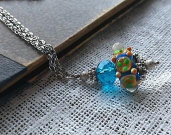 Blue Lampwork Necklace Pendant Necklace Lampwork Necklace Silver Tone Necklace Blue Glass Pendant Art Glass Pendant Crystal Necklace