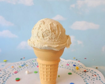 Fake Ice Cream Vanilla Realistic Faux Scoop Cake Cone Prop Decor