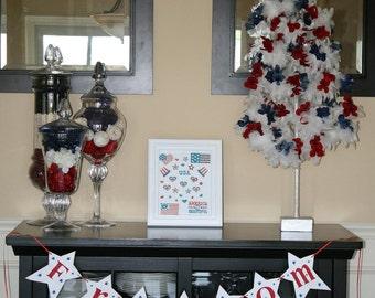 4th Of July Freedom Banner Garland Shabby Chic Americana Custom Wood Stars Sign Holiday