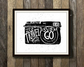 Capture the Adventure - Travel, Travel Print, Travel Art, Camera, Camera Print, Camera Art, Wanderlust, Wanderlust Art, Wanderlist Print