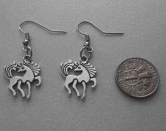Two-Sided Silver Unicorn Earrings or Corded Necklace