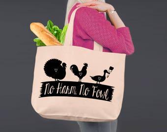 No Harm No Foul | Vegan Tote | Tote Bag | Canvas Tote Bag | Beach Tote | Canvas Tote | Shopping Tote | Shopping Bag | Korena Loves