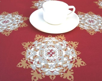 Christmas tablecloth deep red white beige gold Snow Flakes Xmas decor , also napkins , runner , pillow , curtains  available, great GIFT
