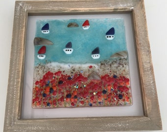 Fused glass, fused glass art, coastal art, seaside, boats, beach, Poppy's, home decor, bathroom art, birthday gift, gifts