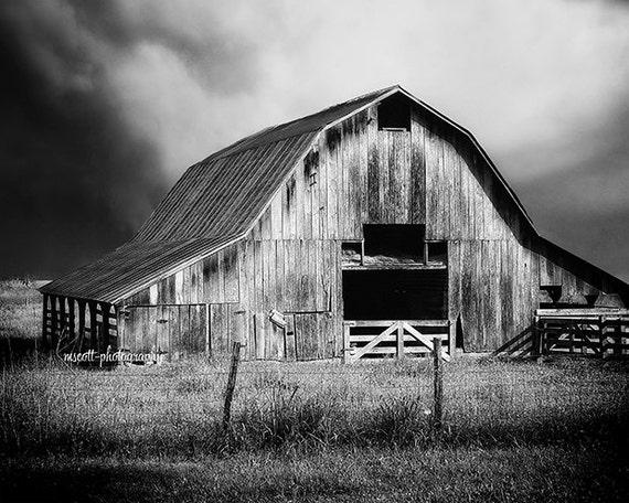 Rustic barn print 11x14 black white film photograph fine