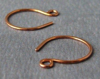 Small Copper Hoop Ear Wires - Handmade Earring Findings - 3 pairs