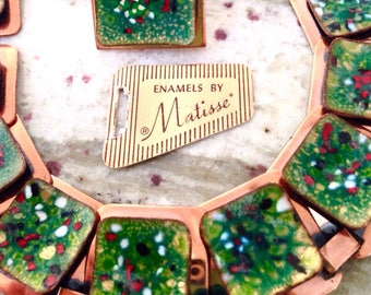 Vintage Matisse Copper Enamel Modernist Necklace Set with Original Tag