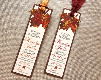 Autumn Fall Bookmark Painted Maple Leaf Leaves Wedding Save the Date Brown Orange Pumpkin Rust Red Burgundy Yellow Gold... SAMPLE