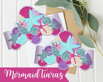 Mermaid Tiara, Printable Mermaid Crown, purple and teal, Mermaid Birthday Party,  Under The Sea Decor - Instant - Mermaid Baby Shower